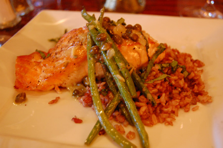 Billy's Salmon with Wild Rice and Green Beans